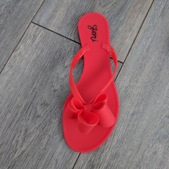 2be00bbe5d90 Stori Jelly bow red sandals